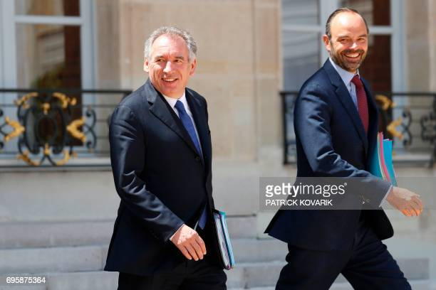 French Prime Minister Edouard Philippe and French Minister of Justice Francois Bayrou leave a cabinet meeting on June 14 2017 at the Elysee Palace in...