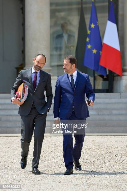French Prime Minister Edouard Philippe and Junior Minister Christophe Castaner leave the Elysee Palace after the weekly cabinet meeting with French...