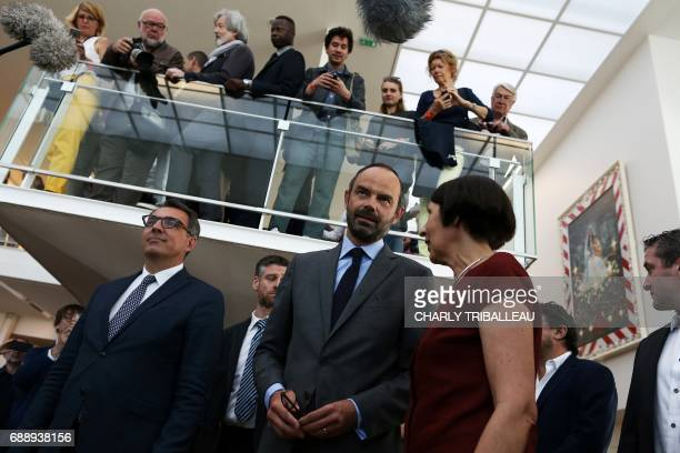 French Prime Minister Edouard Philippe and Le Havre's deputy Mayor Luc Lemonnier visit an exhibition by Pierre et Gilles on the inauguration day of...