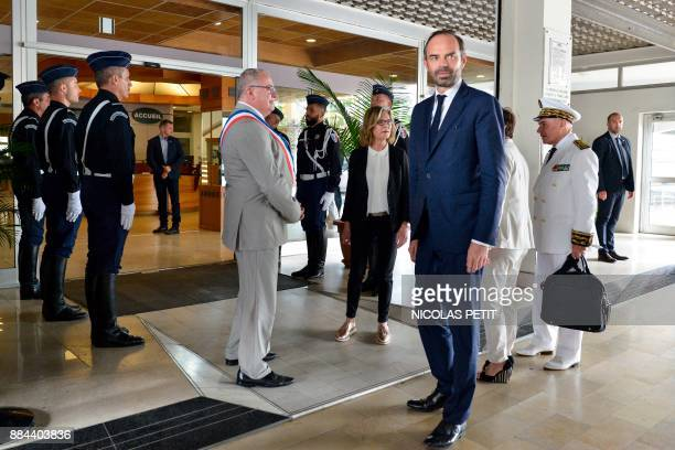 French Prime Minister Edouard Philippe arrives for a meeting with Noumea's Mayor Sonia Lagarde during his visit to Noumea in the French overseas...