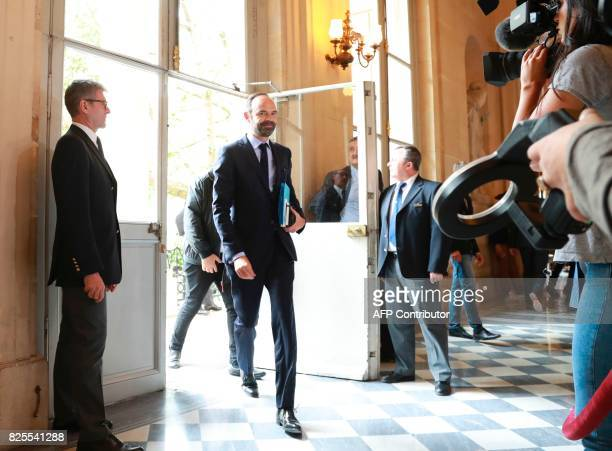 French Prime Minister Edouard Philippe arrives for a session of questions to the government at the French National Assembly in Paris on August 2 2017...