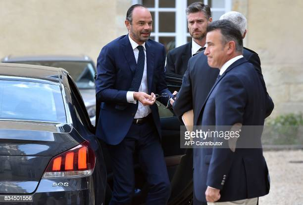 French Prime Minister Edouard Philippe arrives to attend a meeting with professionals from the agricultural sector at the prefecture of the Gers...