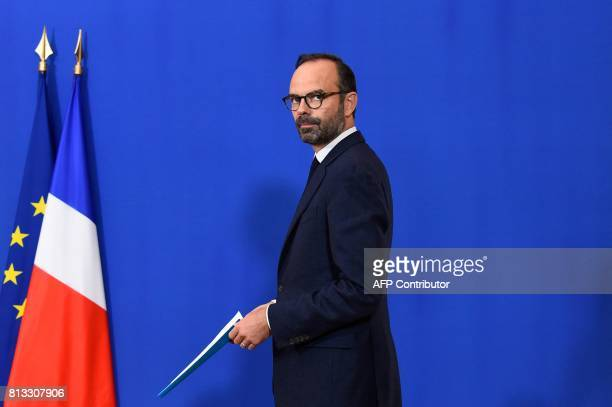 French Prime Minister Edouard Philippe arrives to deliver a press conference at the Hotel Matignon in Paris on July 12 2017 for the launch of the...