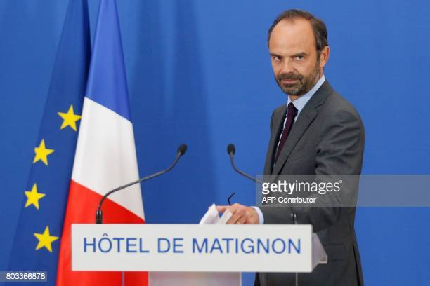 French Prime Minister Edouard Philippe arrives to speak at a press conferen concerning the government's Court of Auditors on June 29 2017 at the...