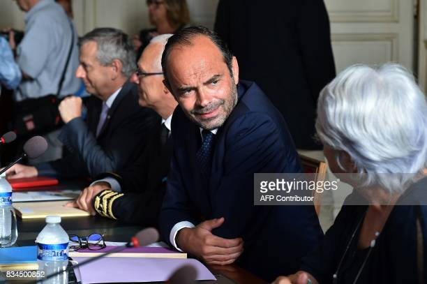 French Prime Minister Edouard Philippe attends a meeting with professionals from the agricultural sector at the prefecture of the Gers department in...