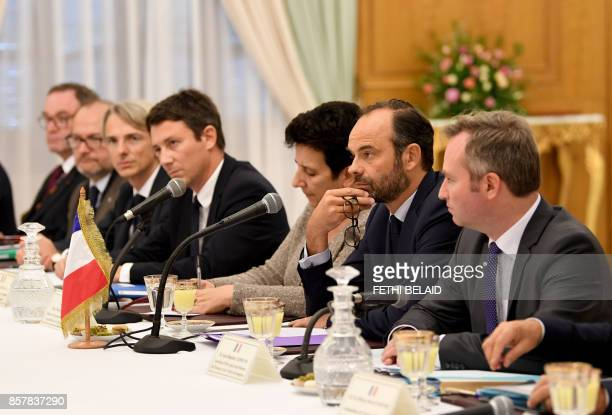 French Prime Minister Edouard Philippe attends a meeting with Tunisian officials on October 5 2017 in Tunis Philippe in on one day official visit to...