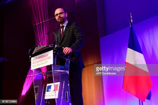 French Prime Minister Edouard Philippe attends the 'Etats generaux de l'alimentation' at the Economy Ministry in Paris on July 20 2017 / AFP PHOTO /...
