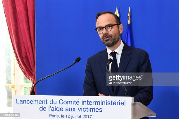 French Prime Minister Edouard Philippe delivers a press conference at the Hotel Matignon in Paris on July 12 2017 for the launch of the 'Comite...