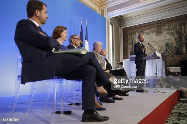 French Prime Minister Edouard Philippe delivers a speech as French Junior Minister for the Relations with Parliament and Government Spokesperson...