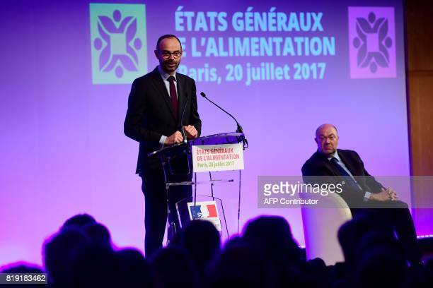French Prime Minister Edouard Philippe delivers a speech during the 'Etats generaux de l'alimentation' at the Economy Ministry in Paris on July 20...