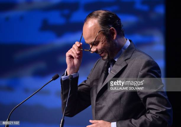 French Prime Minister Edouard Philippe delivers a speech during the opening of the Congress of French Regions on September 28 2017 in Orleans / AFP...