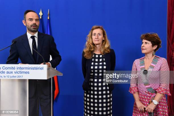 French Prime Minister Edouard Philippe flanked by French Justice Minister Nicole Belloubet and French liaison judge Elisabeth Pelsez delivers a press...
