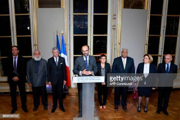 French Prime Minister Edouard Philippe flanked by French senator for New Caledonia Pierre Frogier President of the northern province of the French...