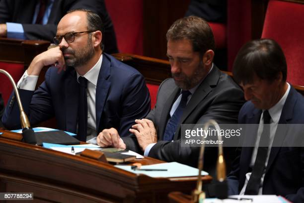 French Prime Minister Edouard Philippe French Junior Minister for the Relations with Parliament and Government Spokesperson Christophe Castaner and...
