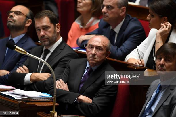 French Prime Minister Edouard Philippe French Junior Minister for the Relations with Parliament and Government Spokesperson Christophe Castaner...