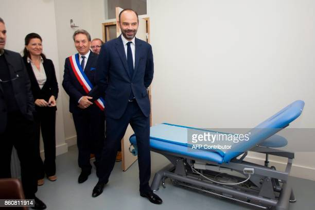 French Prime Minister Edouard Philippe French Minister for Solidarity and Health Agnes Buzyn and mayor of Chalus Alain Brezaudy inaugurate the city's...