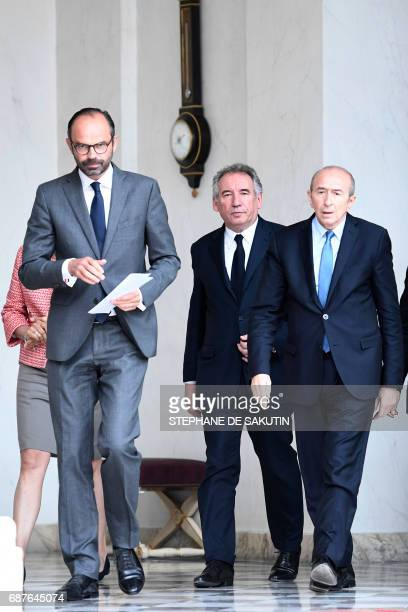 French Prime Minister Edouard Philippe French Minister of Justice Francois Bayrou and French Minister of the Interior Gerard Collomb leave after the...
