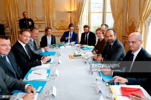 French Prime Minister Edouard Philippe French Minister of National Education JeanMichel Blanquer and French Minister of Labour Muriel Penicaud meets...