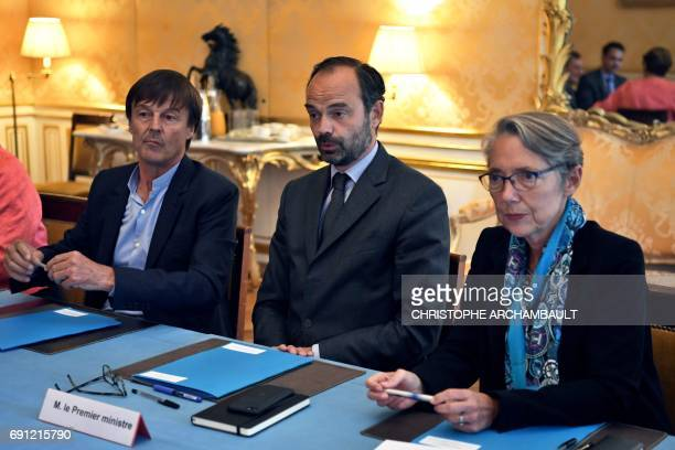 French Prime Minister Edouard Philippe French Minister of Transport Elisabeth Borne and French Minister of Ecological and Inclusive Transition...