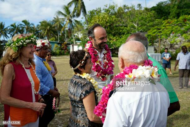 French Prime Minister Edouard Philippe French Overseas Minister Annick Girardin and French Justice Minister Nicole Belloubet meet residents during a...