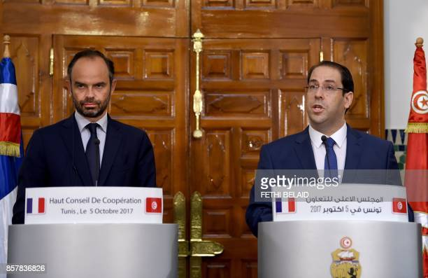 French Prime Minister Edouard Philippe gives a press conference with his Tunisian counterpart Youssef Chahed following a meeting in Tunis on October...