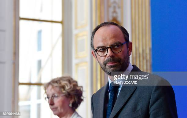 French prime minister Edouard Philippe holds a press conference on labour reform at the Hotel Matignon on June 6 in Paris / AFP PHOTO / ALAIN JOCARD