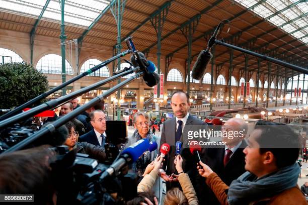 French Prime Minister Edouard Philippe Interior Minister Gerard Collomb and Transports Minister Elisabeth Borne talk to journalist after a meeting...