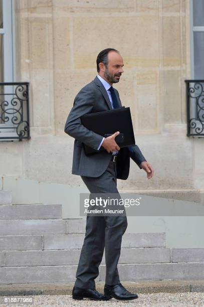 French Prime Minister Edouard Philippe leaves the Elysee Palace after the weekly cabinet meeting with French President Emmanuel Macron on July 19...