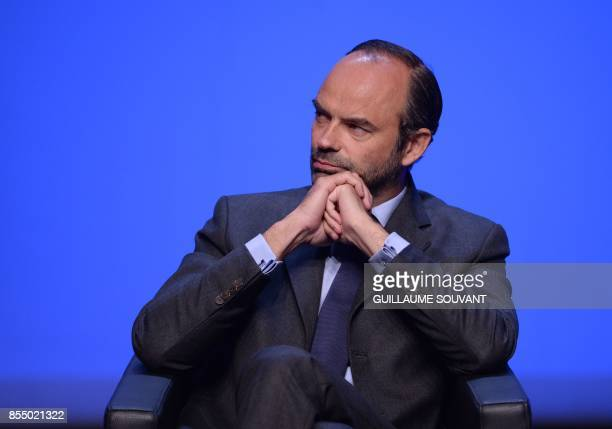 French Prime Minister Edouard Philippe looks on before delivering a speech during the opening of the Congress of French Regions on September 28 2017...