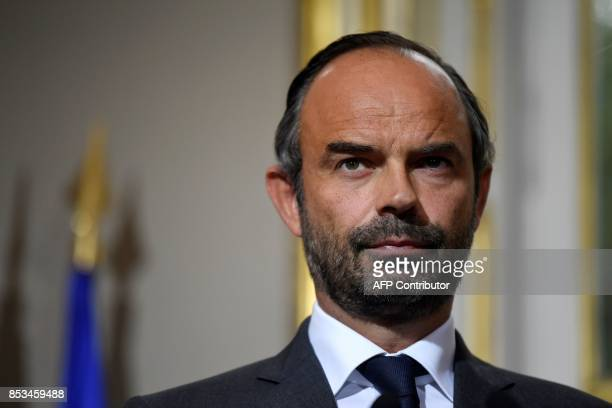 French Prime Minister Edouard Philippe looks on following a report French economist Jean PisaniFerry on the Grand Investment Plan for 20182022 on...