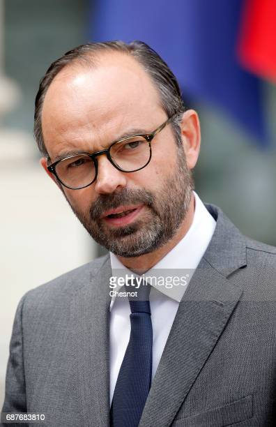 French Prime Minister Edouard Philippe makes a statement after the weekly cabinet meeting at the Elysee presidential Palace on May 24 2017 in Paris...