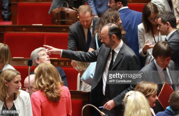 French Prime Minister Edouard Philippe points during a session of questions to the government at the French National Assembly in Paris on July 26...