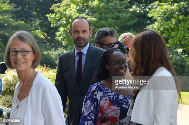 French Prime Minister Edouard Philippe reacts after the Gouvernment photo before the weekly cabinet meeting at Elysee Palace with French President...