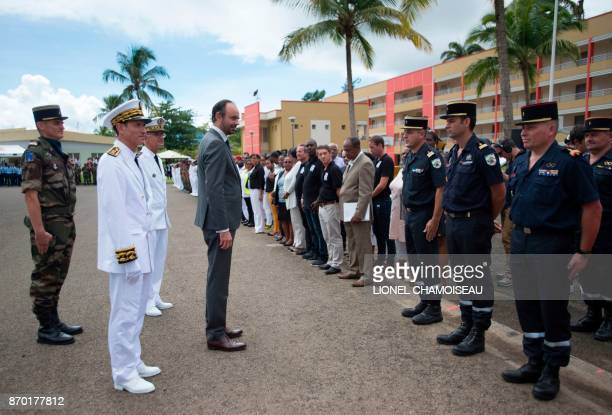 French Prime Minister Edouard Philippe reviews the troops who were deployed on the Caribbean Islands of Saint Martin and Dominica following Irma and...