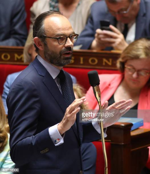 French Prime Minister Edouard Philippe speaks at The National Assembly in Paris on August 9 2017 The French parliament is voting on an ethics bill...