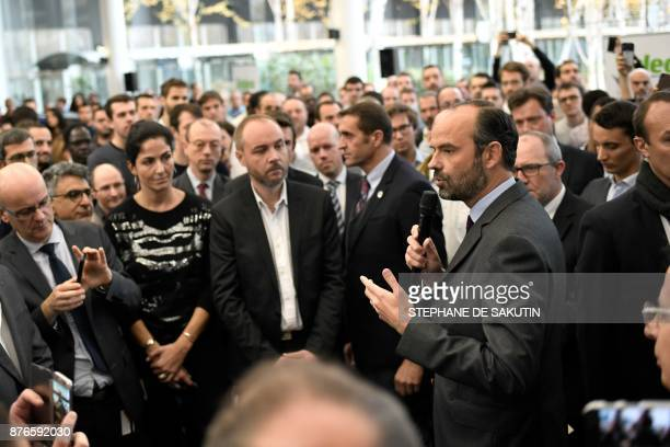 French Prime Minister Edouard Philippe speaks at the research and development center of France's multinational automotive supplier Valeo on November...