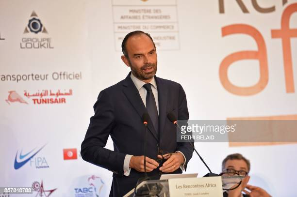 French Prime Minister Edouard Philippe speaks during a FranceAfrica economic meeting in Tunis on October 5 2017 Philippe in on one day official visit...