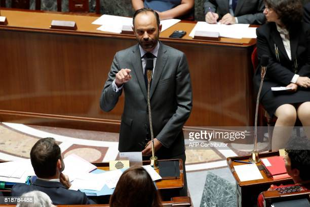 French Prime Minister Edouard Philippe speaks during a session of questions to the government at the French National Assembly in Paris on July 19...