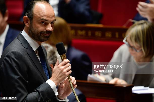 French Prime Minister Edouard Philippe speaks during a session of questions to the government at the National Assembly in Paris on November 15 2017 /...