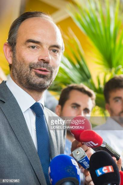 French Prime Minister Edouard Philippe speaks to journalists after meeting elected representatives during a breakfast at the Villa Seriot in...