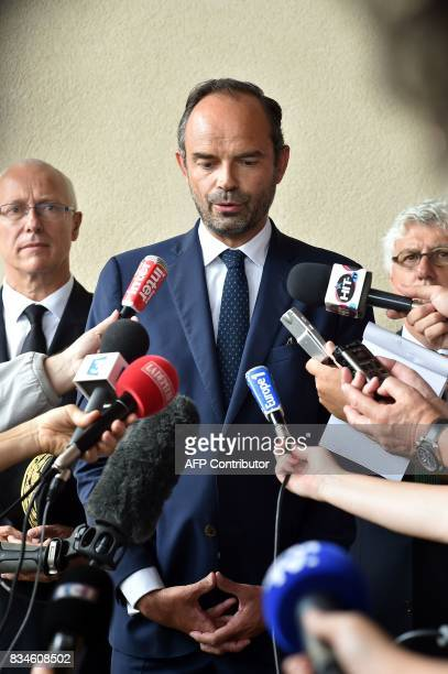 French Prime Minister Edouard Philippe speaks to the press on August 18 during a visit to Domaine du Grand Comté in Roquelaure south western France /...