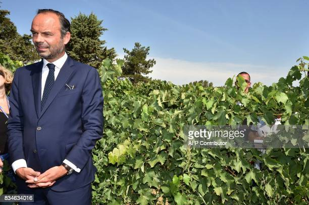 French Prime Minister Edouard Philippe stands in a the vineyard during his visit to Domaine du Grand Comté in Roquelaure south western France on...