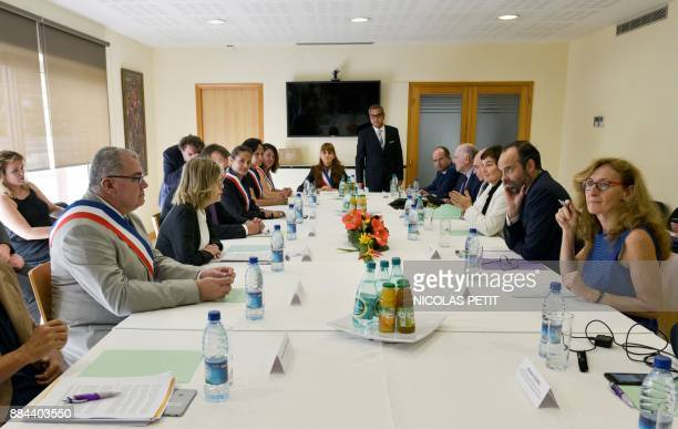 French Prime Minister Edouard Philippe together with High Commissioner for New Caledonia Thierry Lataste French Overseas Minister Annick Girardin...