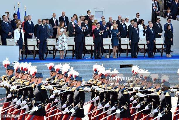 French Prime Minister Edouard Philippe US First Lady Melania Trump US President Donald Trump French President Emmanuel Macron French First Lady...
