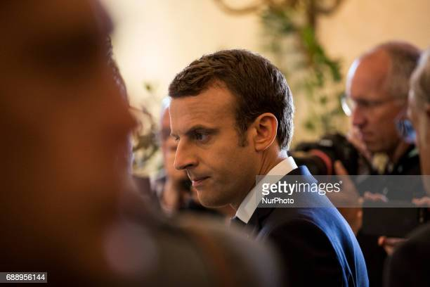 French Prime Minister Emmanuel Macron at the G7 Summit expanded session in Taormina Sicily on May 27 2017