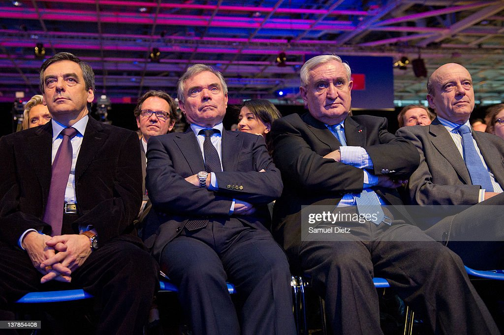 French Prime Minister Francois Fillon, French President of Parliament <a gi-track='captionPersonalityLinkClicked' href=/galleries/search?phrase=Bernard+Accoyer&family=editorial&specificpeople=695096 ng-click='$event.stopPropagation()'>Bernard Accoyer</a>, French Senator <a gi-track='captionPersonalityLinkClicked' href=/galleries/search?phrase=Jean-Pierre+Raffarin&family=editorial&specificpeople=207154 ng-click='$event.stopPropagation()'>Jean-Pierre Raffarin</a> and French Minister of Foreign Affairs <a gi-track='captionPersonalityLinkClicked' href=/galleries/search?phrase=Alain+Juppe&family=editorial&specificpeople=235359 ng-click='$event.stopPropagation()'>Alain Juppe</a> attend UMP National Convention at Parc des Expositions Porte de Versailles on January 28, 2012 in Paris, France. The National Convention was held to validate formally the UMP program that will be presented by their candidate in the upcoming Presidential elections that will take place in May 2012.