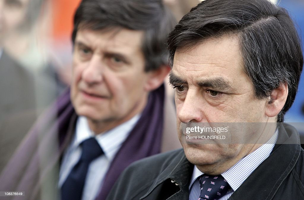 French Prime Minister Francois Fillon , <a gi-track='captionPersonalityLinkClicked' href=/galleries/search?phrase=Jean-Pierre+Jouyet&family=editorial&specificpeople=2521501 ng-click='$event.stopPropagation()'>Jean-Pierre Jouyet</a> in Luxembourg, Luxembourg on January 25th, 2008.