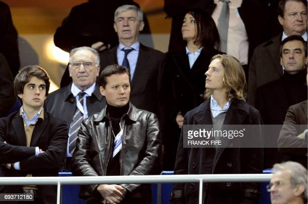 French Prime Minister Francois Fillon one of his sons Edouard Fillon and music producer and son of French President Nicolas Sarkozy Pierre Sarkozy...