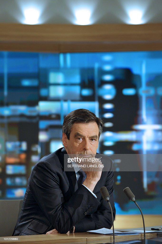 French Prime minister Francois Fillon poses prior to take part in the night news of French TV channel TF1 on May 5, 2010 in Paris.