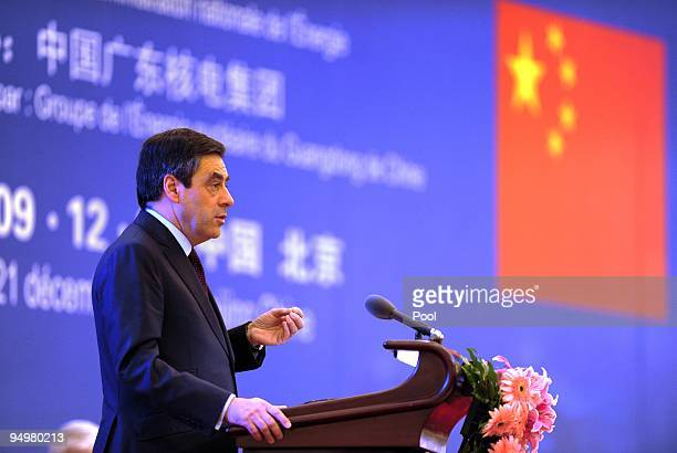 French Prime Minister Francois Fillon speaks at a ceremony confirming a nuclear power cooperation deal with China in the Great Hall of the People on...